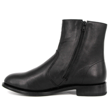 Black leather ankle type slip resistant rubber sole office shoes 1247