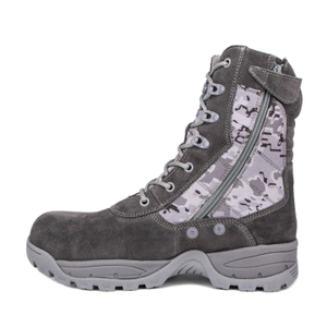 Gray suede soldier combat tactical boots 4209